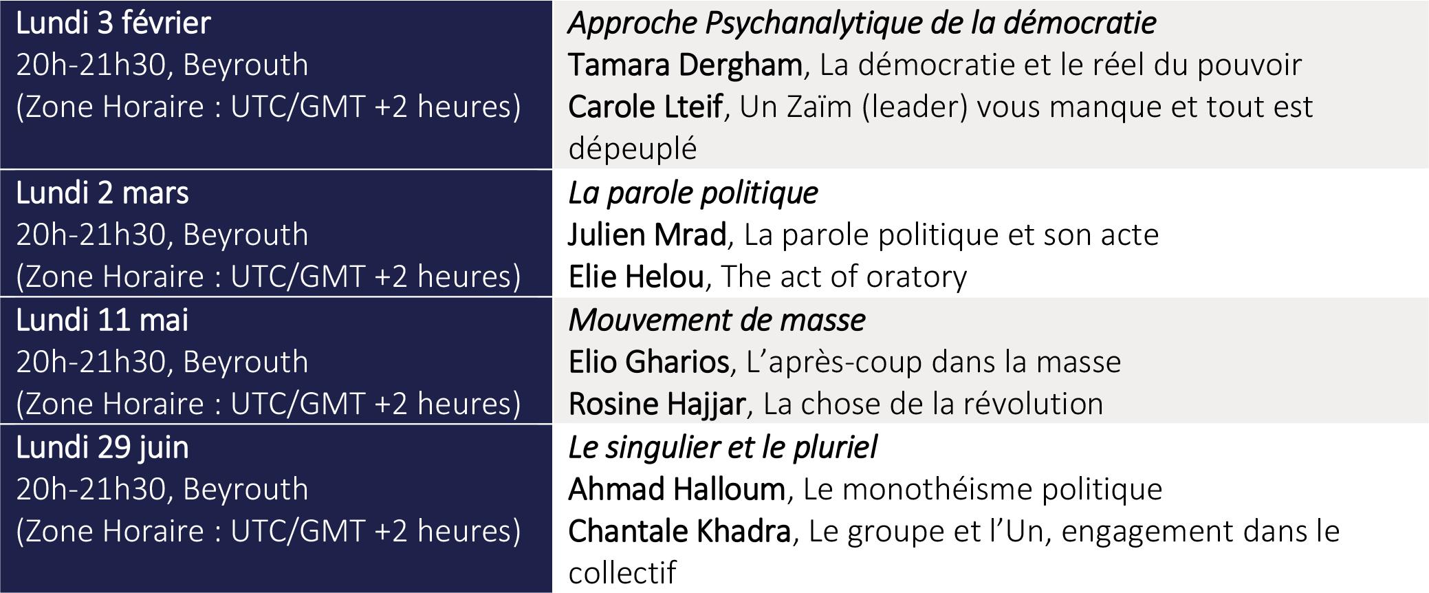 Programme des interventions et débats 2020